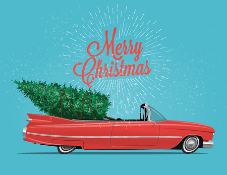 Cartoon styled side view vintage red cabriolet car with Christmas Tree on board. Vintage styled vector illustration for your poster, flyer or postcard or invitation for your event or party.
