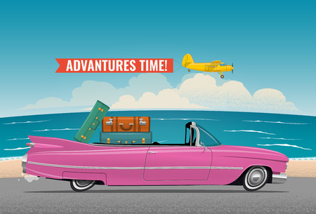 Cartoon styled side view pink vintage car cabriolet with luggage on board, on the beach road. Travel themed vector illustration for your poster, or flyer or banner for your event promotion.