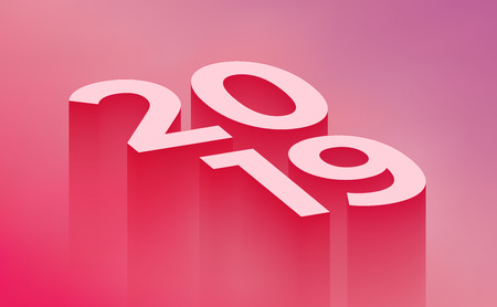 2019 new year pink abstract background. Template for your designs. Modern minimalistic styled vector illustration. Illustration
