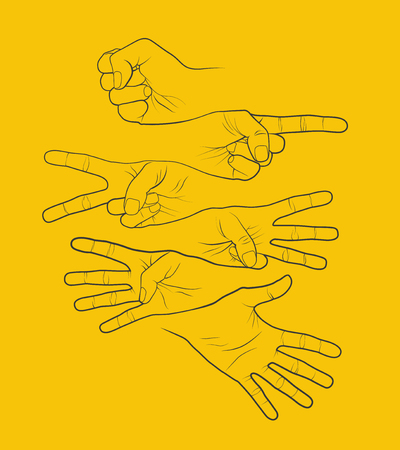 Counting fingers hands. Abstract vector infographic illustration.