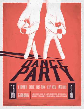 Dance Party Poster with two dancing hands. Vintage styled vector illustration. Flyer Template.