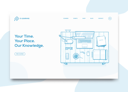 Online Education Courses Website Landing homepage template concept, with line flat styled study desk illustration. Vector illustration.