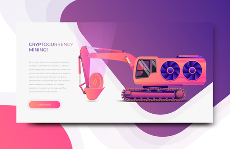 Cryptocurrency Mining Web Banner Template. Modern Styled Trendy Vector Illustration for your Website.