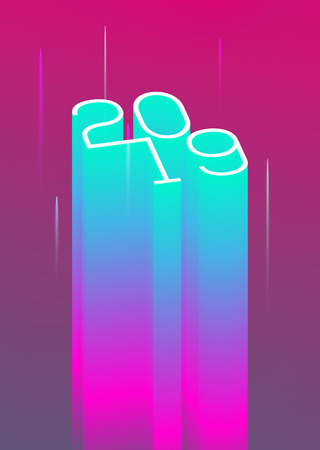 3D 2019 New Year event poster flyer modern styled neon template. Vector Illustration Illustration