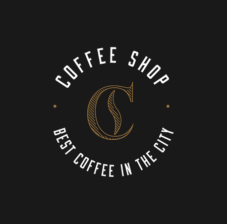 Minimalistic Coffee Shop Logo. Cafe Logo. Vector EPS 10 Illustration.