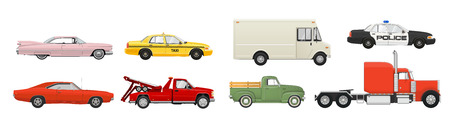 Different cars set. Side view vehicles. Vector EPS 10 illustration. Illustration