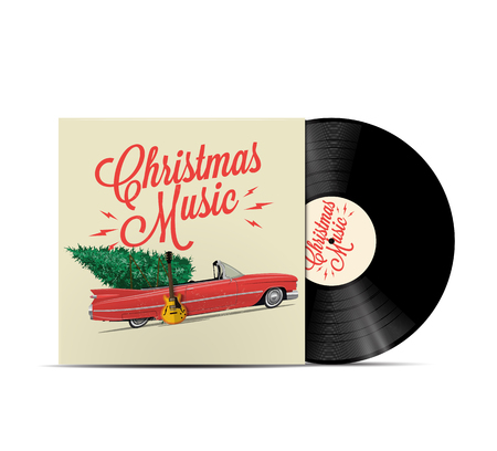 Christmas music playlist cover art. Vinyl disc cover. Realistic vector EPS 10 illustration