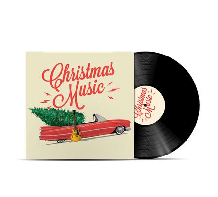 Christmas music playlist cover art. Vinyl disc cover. Realistic vector EPS 10 illustration