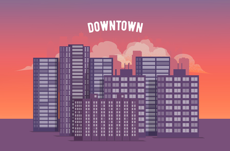 City Downtown at Sunset. Vector EPS 10 Illustration. Illustration