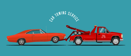 Car Towing Truck Service Illustration with towing truck and car. Ready made illustration for your business. Vector EPS 10 Illustration.