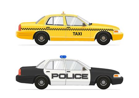 Taxi Yellow Cab NYC Auto. Polizei-Sheriff-Sicherheitsauto. Isoliert auf weißem Hintergrund Autos eingestellt. Vektor-EPS 10 Abbildung.