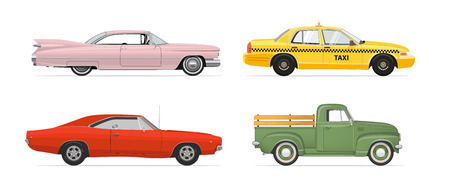 Retro Vintage Side View Cars Set. Muscle Car. Pickup Truck. Taxi Car. Pink Car. Isolated cars set on white background. Vector illustration.