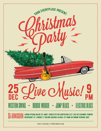 Christmas Party Flyer or Poster Template. Vintage styled vector EPS 10 illustration. 일러스트