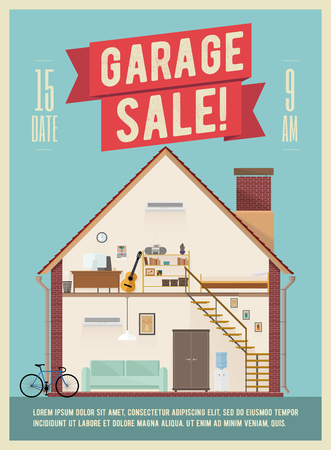 Garage Sale Banner Flyer Poster Design. Vector EPS 10 Illustration. Illustration