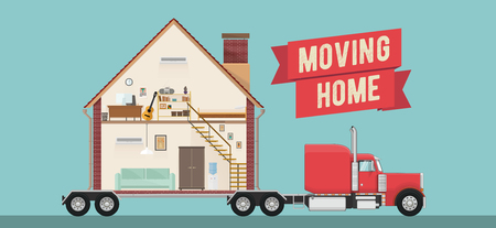 House Moving Service Banner or Flyer Template. Vector EPS 10 Illustration. 일러스트