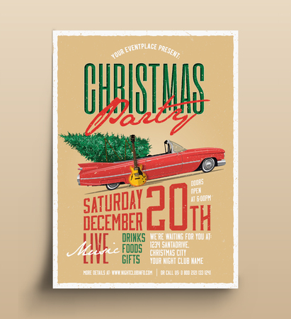 Vintage Styled Christmas Party Poster Flyer Template. Vector EPS 10 Illustration.