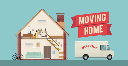 Moving Home Service Banner. Flat Styled Vector EPS 10 Illustration.