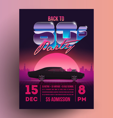 Retro vintage 80s night party promotion flyer template. Vector EPS 10 illustration.