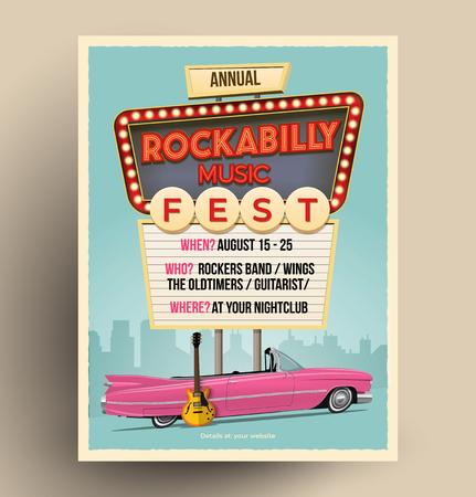 Plakat promujący festiwal muzyki rockabilly lub imprezę lub koncert. Szablon ulotki. Ilustracja wektorowa w stylu vintage.