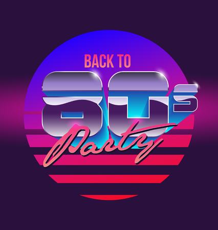 Back to 80s sign banner. Vintage styled vector illustration.