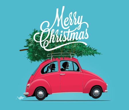 Merry Christmas Themed Illustration of side view cartoon styled vintage red car with Christmas Tree and Happy Couple inside. Vector EPS 10 Illustration.
