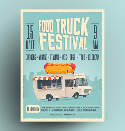 Food truck festival poster, flyer, street food template design. Vintage creative market party invitation with cartoon hot dog food truck. Illustration