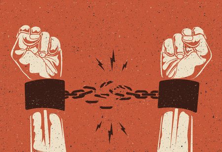 Human hands break the chain. Freedom release concept. Broken chain.