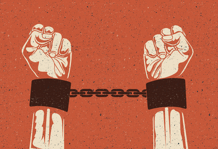 Man hands in strained steel handcuffs. Imprisoned hands in chains. Prisoners hands. Illustration
