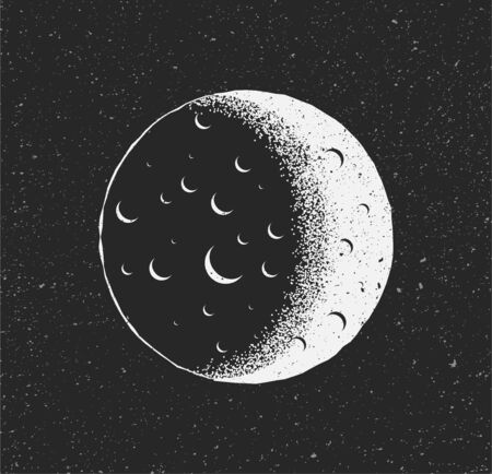 White Moon on black starry background. Hand drawn sketch vintage styled vector illustration.