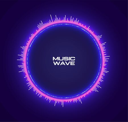 Abstract circle futuristic purple neon glowing equalizer sound wave. Vector template for electronic music poster or flyer or album cover. Vector illustration.