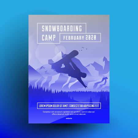 Snowboarding camp flyer or poster design template with snowboard rider dark silhouette on mountains landscape background with blue gradient overlay effect. Vector illustration.