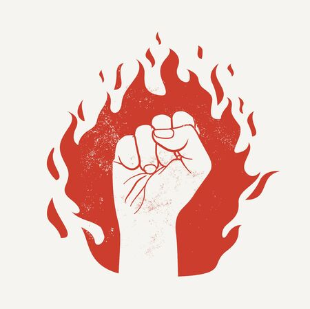 Raised up fist on red fire flame silhouette. Protest demonstration or power concept. Vector illustration isolated on white background.
