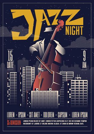 Jazz night party or live concert or live music event flyer template. Jazz music poster concept.