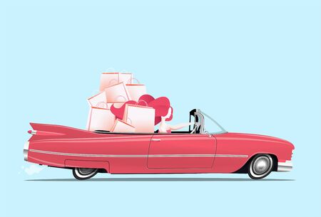 Woman driving a pink cabriolet car with shopping bags at backseats. Happy girl at shopping. Cartoon styled vector eps 10 illustration.