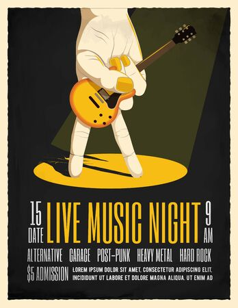 Live Music Night Party Poster with hand holding electric guitar. Poster Flyer template for your event.