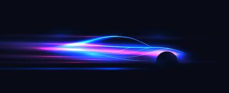 Side view neon glowing sport car silhouette. Abstract modern styled vector eps 10 illustration. Vektoros illusztráció