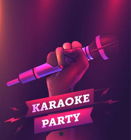 Vector karaoke party flyer or banner or poster design template with hand holding microphone.