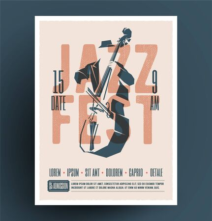 Jazz music festival or party or live music event flyer or advertising promo poster design template with jazz double bass player and jazz fest caption. Vintage music flyer. Ilustrace