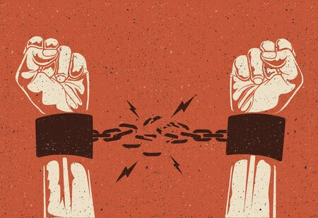 Human hands break the chain. Freedom release concept. Broken chain. Vintage styled