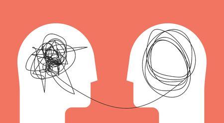 Zwei Menschen Kopf Silhouette Psychotherapie Konzept. Therapeut und Patient. Vektor-Eps 10 Illustration für Psychologen-Blog oder Social-Media-Beitrag.