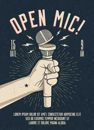 Open Microphone event party session poster flyer template.