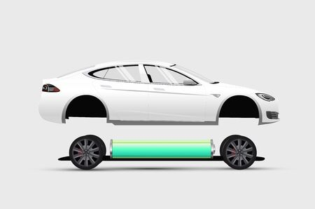 Electric car construction infographic. Isolated white electric car. Vector eps 10 illustration
