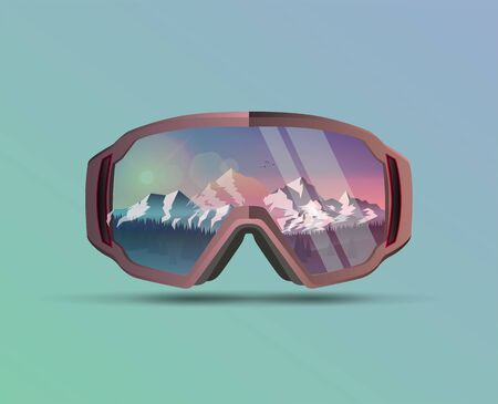 Snowboard protective mask with mountains landscape on reflection. Mountain sky glasses. Snowboarding Goggles. Extreme sport vector eps 10 background. Vettoriali