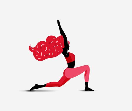 Yoga Girl. Woman doing yoga first warrior asana. Girl character silhouette. Fitness active girl. Vector eps 10 illustration for your yoga classes promo advertise or blog article image or post. Vettoriali