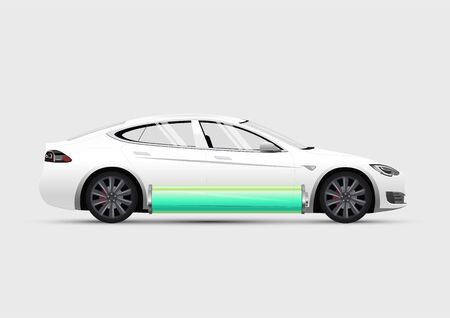 Isolated side view electric car with charged green battery at bottom. Vector eps 10 illustration. Vettoriali
