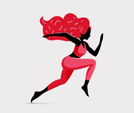 Trendy black running redhead woman character silhouette illustration. Runner girl. Girl runners club. The woman goes in for sports, strengthens health. Vector eps 10 illustration.