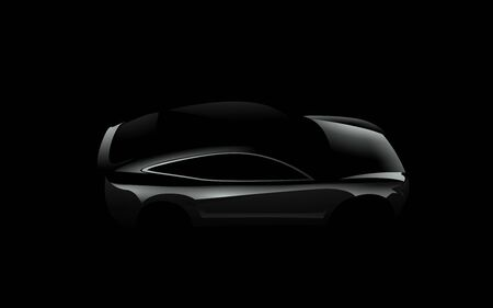 Side view black car silhouette on dark background. Concept car. Realistic modern vector eps 10 illustration