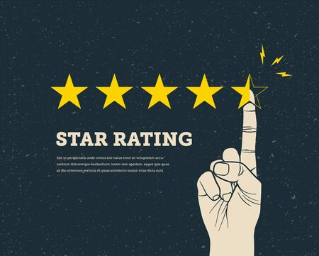 Hand finger pointing five star to increase. Vintage style vector eps 10 design illustration.
