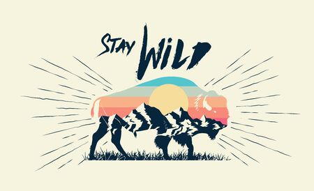 Double exposure effect buffalo bison silhouette with mountains landscape and stay wild caption. T-shirt print design. Vector eps 10 illustration. Vettoriali
