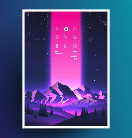 Night mountains vaporwave poster design. Template for your event advertising. Vector eps 10 illustration.